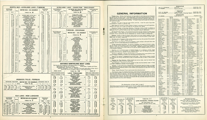 Ontario Northland Railway 1949 oct 30  p67 includes bus and boat lines.