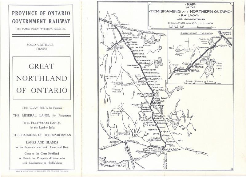 Temiskaming and Northern Ontario Railway 1912 June 30 timetable - map
