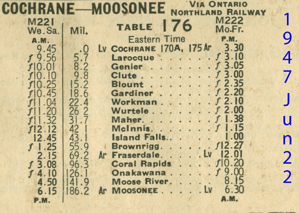 Canadian National timetable 1947 June 22 pages 52,53