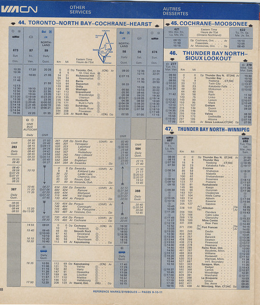 Timetable: Excerpts: VIA CN CP Rail, first joint timetable by CN and CP. 1976 October 31 to 1977 April 23. Ontario Northland.
