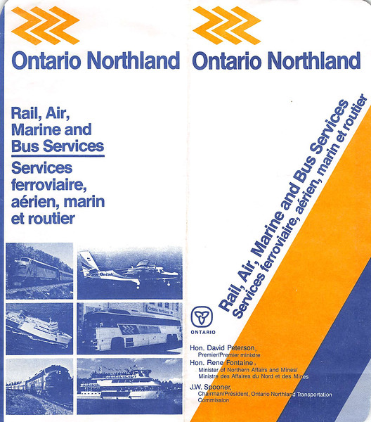 Ontario Northland Railway ticket holder about 1987 -cover