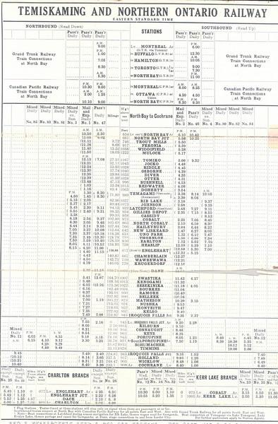 Temiskaming and Northern Ontario Railway 1912 June 30 timetable - timetable