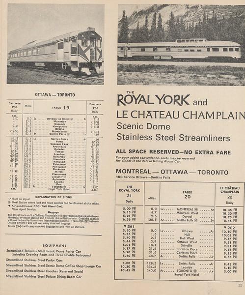 Canadian Pacific Railway Timetable 1965 October 31: Toronto Montreal service, Royal York, Chateau Champlain, Ottawa - Toronto Rail Diesel Cars.