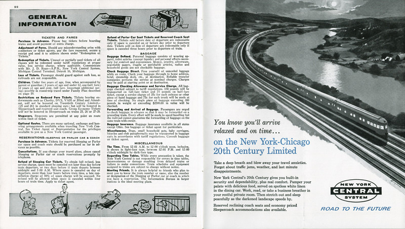 New York Central System railway timetable effective 1961 October 29.