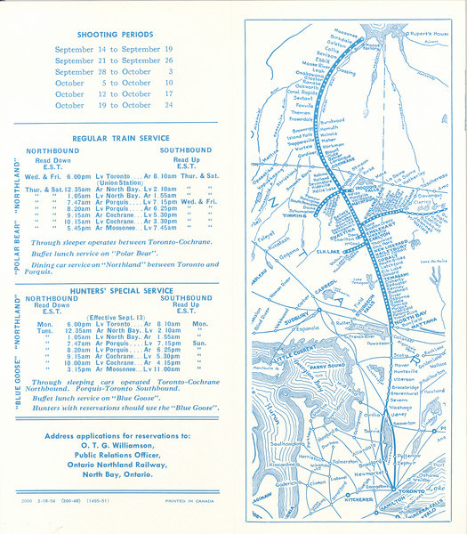 """Ontario Northland Railway brochure """"Geese at Hannah Bay"""", 1954 February 16, information about hunting trips to Hannah Bay, includes train schedule onr regular trains (Polar Bear and Northland) and Hunters' Special Service (Blue Goose, map and schedules"""