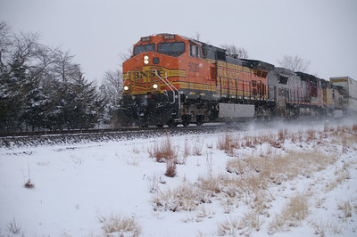 BNSF train in southeast Sedgwick County, KS in snow
