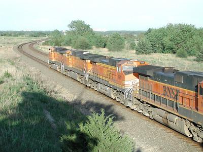 BNSF train west of Wellington, KS
