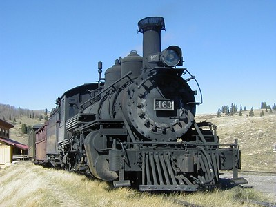 Cumbres & Toltec Locomotive 463 parked at Osier, Colorado