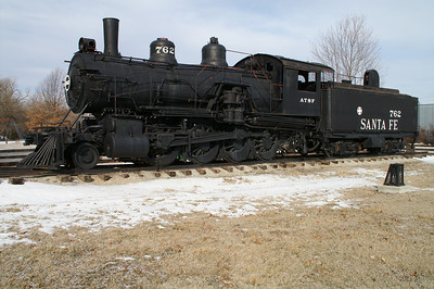 Santa Fe steam engine and tender parked at Santa Fe Park in Chanute, KS
