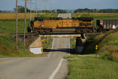UP train crossing overpass on old US40 east of Wilson, KS