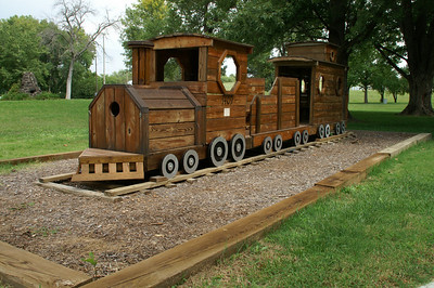 Wood playground train at Tootle Park in Miltonvale, KS