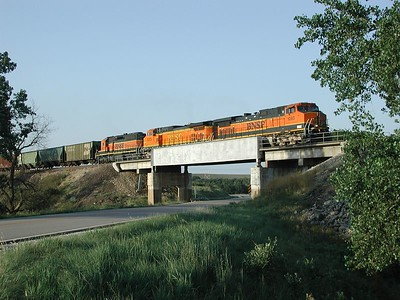 BNSF train crossing Hwy 177 south of Matfield Green, Kansas
