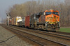 BNSF 7609 (GE ES44DC) & Unknown idling at Wenz Rd crossing, Toledo, OH @08:19 on 4/18/08