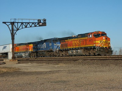 BNSF train passing siding at Aikman, near Cassoday, Kansas