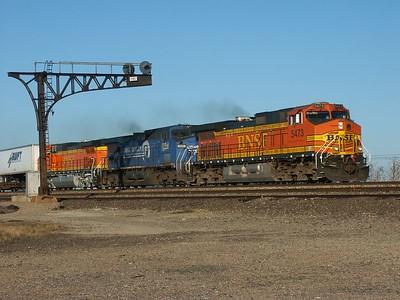 BNSF train passing siding at Aikman, near Cassoday, Kansas