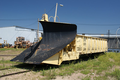 DM&E snowplow next to the roundhouse in Chadron, NE.