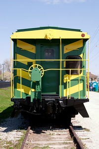 St. Charles, MO, caboose painted in M-K-T scheme