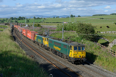 86639+86622 pass Shap Beck with the evening southbound liner train 21/7/14.