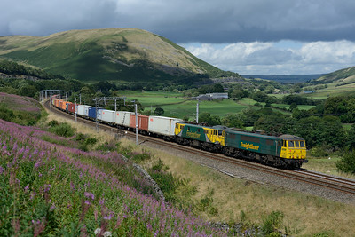 The occasional Saturday daytime Coatbridge-Crewe liner passes the Lune Gorge behind 86610+86637, 9/8/14.