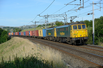 86607+86613 pass the site of the Lambrigg crash with the evening liner 17/7/14.