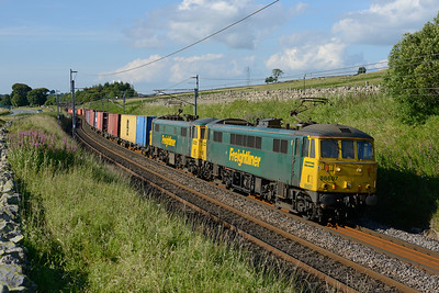 86607+86613 cruise up to Shap summit with the Coatbridge-Crewe liner, 17/7/14.