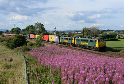 86612+86605 pass the willow herb near Burton with the early evening liner 10/7/14.