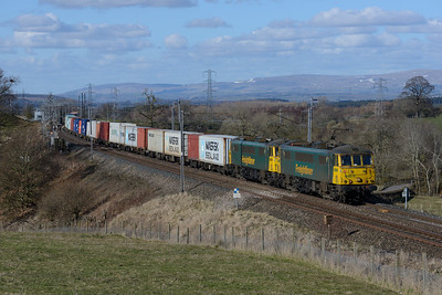 86610 + 86612 pass Great Strickland with Coatbridge-Crewe containers, 24/3/18.