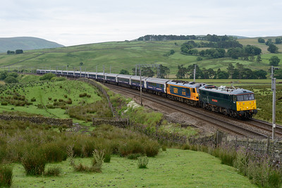 86101 hauls the 23.50 Euston-Glasgow sleeper past Greenholme 14/7/15.  92032 had failed just north of Crewe and the train was running 142 minutes late.