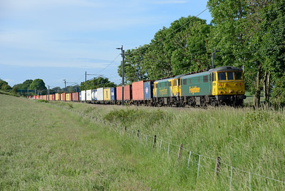 After a pause in Oxenholme loop 86628+86637 head south with the early evening liner 12/6/14.