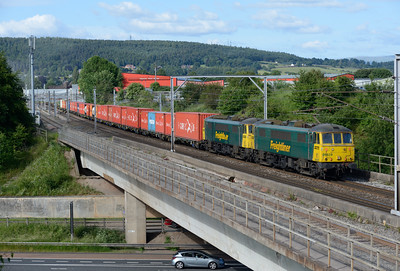 86628+86627 haul the Coatbridge-Crewe containers past Penrith 9/7/15.