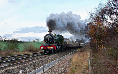GWR Hall 4965 Rood Ashton Hall passes Daw Mill Colliery, Warwickshire whilst working the  1Z33 Melton Mowbray Victorian Fayre from Tyseley to Melton Mowbray
