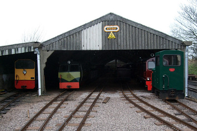 A view of Ravenglass carriage shed - or should that be Traction Maintenance Depot? Lady Wakefield, Shelagh of Eskdale, Douglas Ferreira and Cyril on shed, 03/04/08.