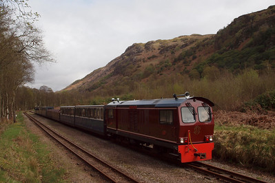 Douglas Ferreira waits for the up train at Miteside loop while on the 1330 Dalegarth - Ravenglass. 11//04/11.