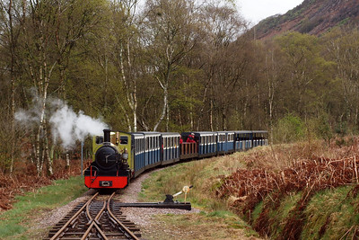 Northern Rock approaches Miteside loop while working the 1150 Dalegarth - Ravenglass. 11//04/11.