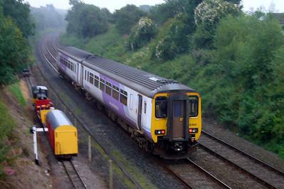 156464 passes Perkins and the p-way train on Ravenglass' Barrow headshunt, 03/08/07.