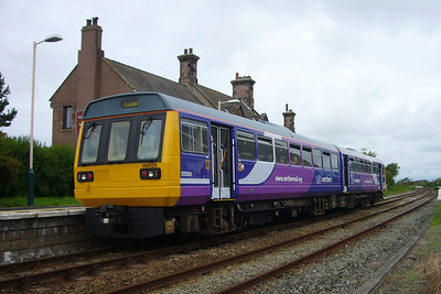 142025 in the new Northern Rail livery at Ravenglass, 11/08/07.