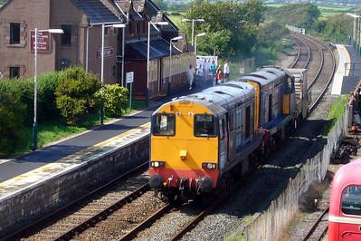 20308 and 20310 head 6K73 through Ravenglass heading for Crewe Coal Sidings, 06/08/07.