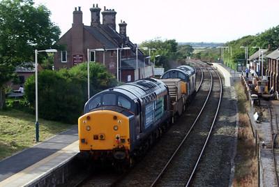 37604 tails 6C52 Heysham - Sellafield with 37607 at Ravenglass, 06/08/09.