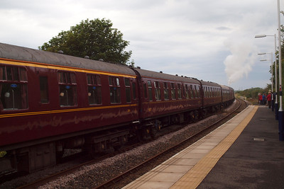 48151 and the Lakelander ECS gets underway from Ravenglass, bound for Sellafield. 06/08/11.