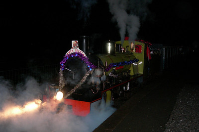 An atmospheric sight as Northern Rock prepares to leave Dalegarth in the dark with the final Santa working of the day, 09/12/06.