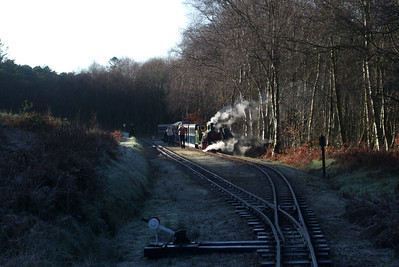 River Irt sits in Miteside loop, seen from the footplate of the sleigh, 06/12/08.