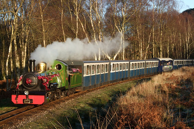 In perfect winter sunlight, River Irt shines as she steams down to Miteside loop with the returning Santa Express, 06/12/08.
