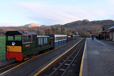 Lady Wakefield at Dalegarth, as a local brass band plays carols on the platform, 13/12/09.
