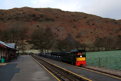 Lady Wakefield arrives at Dalegarth with RANDER 90. As the guard, I had been involved with sanding duties on the journey, in advance of the steam trains, and had walked round to the station ahead of the train, hence this strange photo of my own train on the move without me on it! 19/12/09,