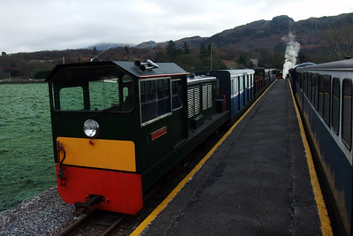 Lady Wakefield sits at Dalegarth as the newly-arrived Santa train, hauled by River Irt, stands alongside in Platform 1, 19/12/09.