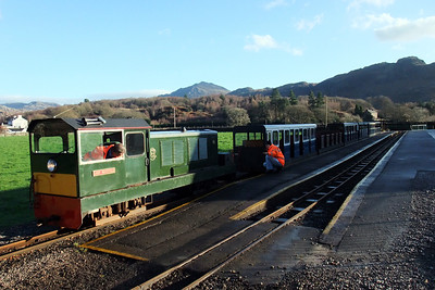 Lady Wakefield is coupled onto her train at Dalegarth, 12/12/09.