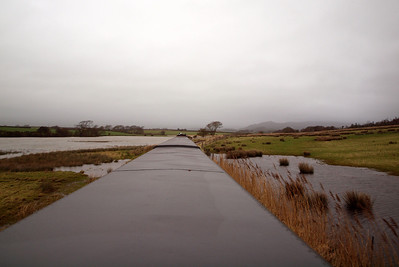 Water floods both sides of the railway embankment on Barrow Marsh. 26/12/11.