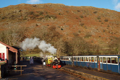 Northern Rock steams into Dalegarth station with the Santa Express. 18/12/11.