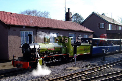 Steam hisses out of Northern Rock's air pump as she prepares to depart Ravenglass station, 11/02/08.
