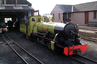 Northern Rock sits outside Ravenglass engine shed, 09/02/08.
